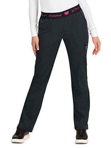 KOI Betsey Johnson 6-Pocket Elastic Waistband Yarrow Scrub Pant for Women Black 2X