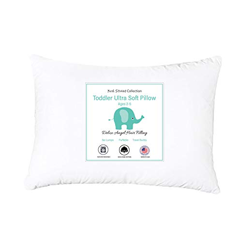 Deluxe Toddler Pillow Down Alternative Angel Hair | No Cluster Fill | 100% Natural Cotton Cover | Super Soft for Comfy Sleep and Better Posture | 13x18 Perfect for Travel | Kids | Infants Toddler Cot
