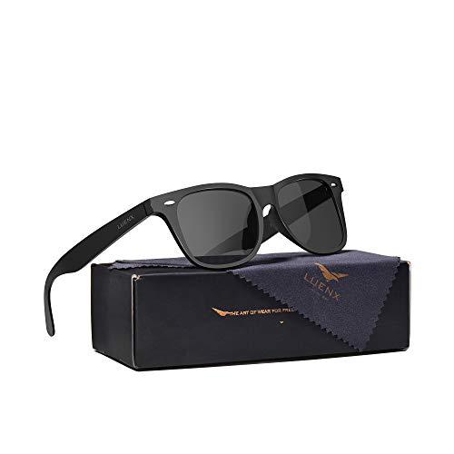 LUENX Mens Polarized Sunglasses for Womens UV 400 Protection Black Lens Matte Black Frame 54MM
