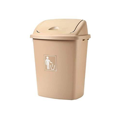 JUIO Basurero para exteriores, cubo de basura de plástico con tapa, cesta de basura mecedora, para...