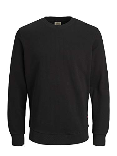 JACK & JONES Jjeholmen Sweat Crew Neck Noos Felpa, Nero (Black Fit: Reg Fit), Large Uomo