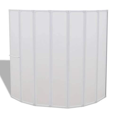 Duschwand Duschabtrennung 140 x 168 cm 7 Faltwände aufklappbar mit Handtuchhalter Gummidichtungen