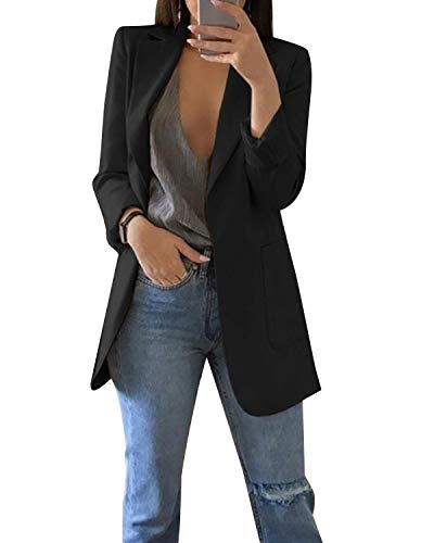 MINTLIMIT Damen Blazer Cardigan Dünn Geraffte Ärmel Elegant Bolero Business Jacke Blazer Slim Fit Anzug Trenchcoat Sakko Einfarbig Schwarz#1851 L