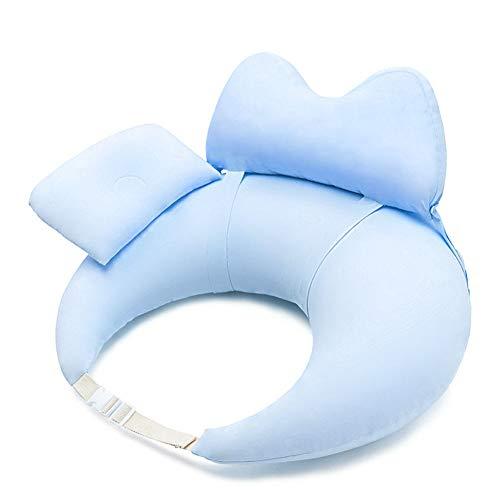 WSYK Almohada multifuncional para lactancia materna con valla extraíble de algodón para bebés y embarazadas, color azul