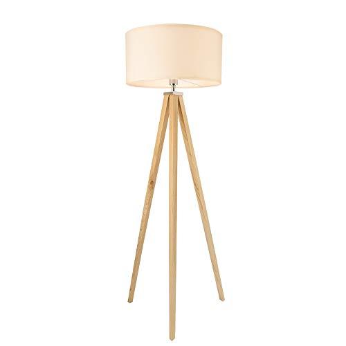 lux.pro Stehleuchte 'Queluz' 152cm E27 max. 60W Stehlampe Design Standleuchte Industrial Stand Lampe Metall Holzfarben Weiß Innenbeleuchtung Tripod Dreifuß
