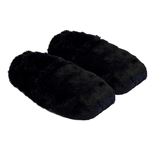 Thermo Sox aufheizbare Hausschuhe für Mikrowelle und Ofen - Mikrowellenhausschuhe Wärmepantoffeln Wärmehausschuhe Wärmeschuhe Fußwärmer Supersoft, Farbe:Schwarz, Größe:36/40 EU