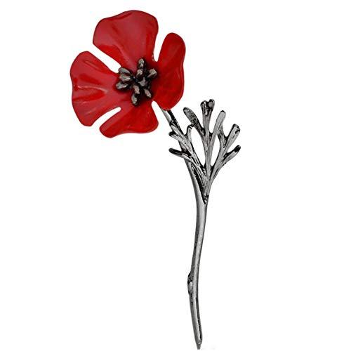 Unisex Amapola Broche De La Flor De La Solapa La Insignia del Pin Cristal Rojo Regalos Broches Días De Recordación