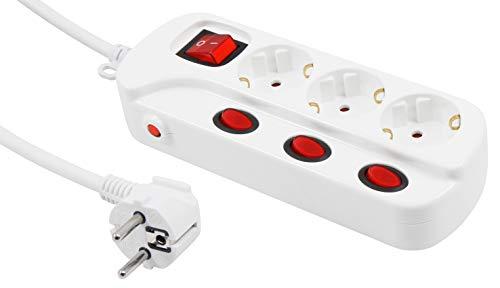 MC POWER - Steckdosenleiste mit Einzelschaltung   3-fach, 1,5m Zuleitung