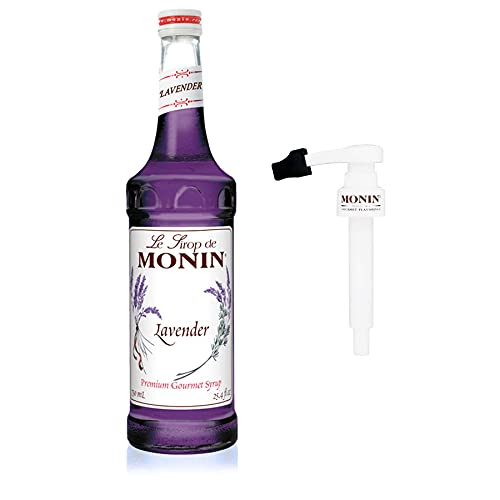Monin - Lavender Syrup Box Set, Aromatic and Floral, Natural Flavors, Great for Cocktails, Lemonades, and Sodas, Non-GMO, Gluten-Free, Includes BPA Free Pump and Box (750 ml)