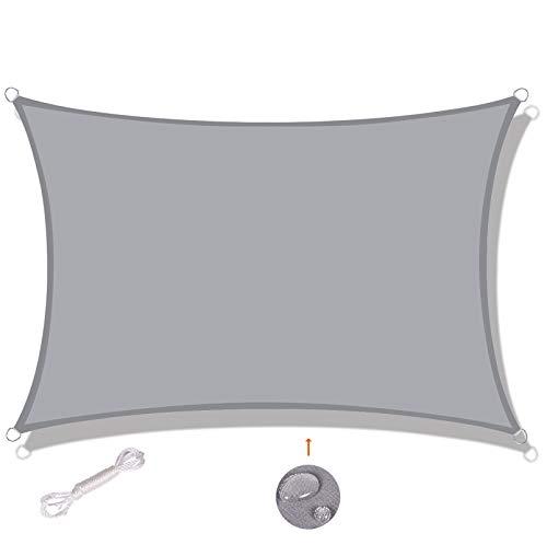 SUNNY GUARD Toldo Vela de Sombra Rectangular 3x3m Impermeable a Prueba de Viento protección UV para Patio, Exteriores, Jardín, Color Gris