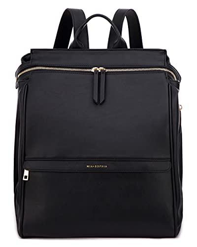Mia + Sophia Leather Diaper Bag Backpack with Changing Pad, Stroller Straps, Bottle Holder (Black Sophia)