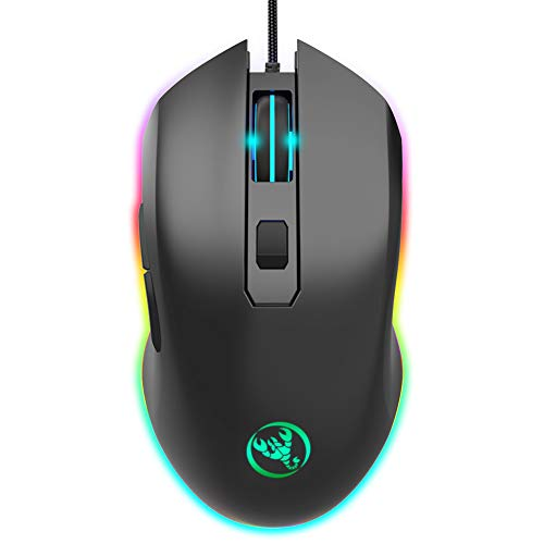 HaetFire Gaming Mouse Wired, 1000/1600/3200/6400 DPI Adjustable RGB Marquee Effect Light Ergonomical Optical Game Mice with 6 Buttons for Laptop Notebook PC Mac, Computer Esport Mouse (Black)