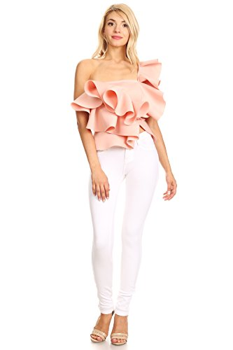 MeshMe Womens Candace – Rose Blush Pink Sweet Candy Cupcake Cake Frosting Ruffle Layer Tiered One Shoulder Tube Crop Layered Midriff Dressy Fun Cropped Tank Ruffled Blouse Tier Shirt Top Large