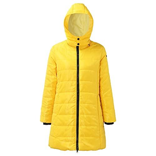 URIBAKY - Chaqueta de manga larga para mujer, con forro polar, forro polar y cálido de algodón, con capucha, desmontable, para hombre, para hombre, militar, ajustado, amarillo, L