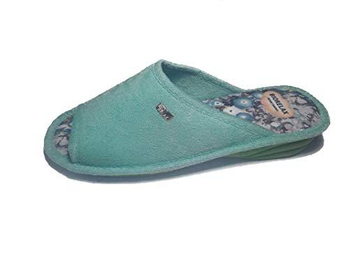 Zapatillas de Estar por casa/De Mujer/Biorelax/Primavera-Verano/Mod. Cuña 3 cms/Color Aguamar/Talla...