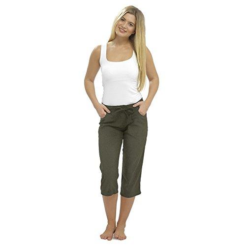 CityComfort Pantaloni Casual da Donna in Lino Vacanze Elasticizzate Pantaloni Estivi da Donna Pantaloni da Lavoro con Tasche (52, Kaki ritagliati 3/4)