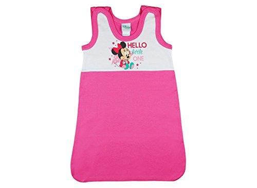 Disney Minnie Mouse Baby- und Kinder- Sommer-Schlafsack ÄRMELLOS aus Baumwolle, UNGEFÜTTERT, GRÖSSE 56-62, 68-74, 80-86, 92-98 mit Druck-Knöpfen und Bein-Freiheit Farbe Rosa, Größe 56/62