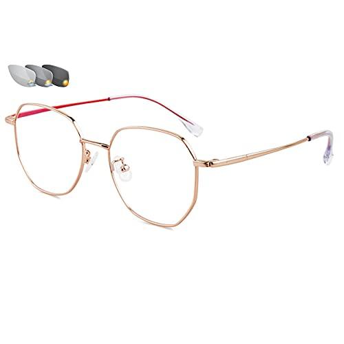 LGQ Gafas de Lectura Que cambian de Color, Zoom automático Progresivo, visión Clara, Montura Completa de Metal, Gafas de Sol para Exteriores, dioptrías de +1,00 a +3,00,Pink Gold,+2.50