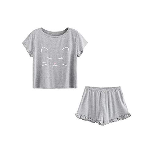 Holywin Vêtements de Nuit décontractés à Manches Courtes pour Femmes Pyjama T-Shirt Ensemble de Nuit