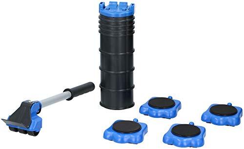 KINZO Möbel-Gleitroller 4 Rollen, 8 Höhenregler, Stabile Transporthilfe zum sicheren Transportieren von Möbeln, Waschmaschinen etc, Belastbarkeit 300kg je Rolle, Umzugshilfe, Transportroller