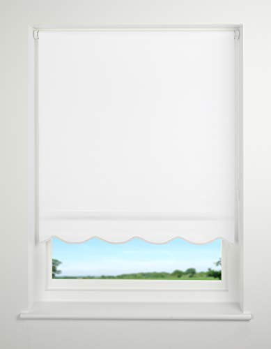 UNIVERSAL Scalloped Edge Roller Blind, Snow White, W150cm