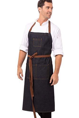 Chef Works AB036-IBL-0 -Grembiule Memphis con pettorina, colore: blu