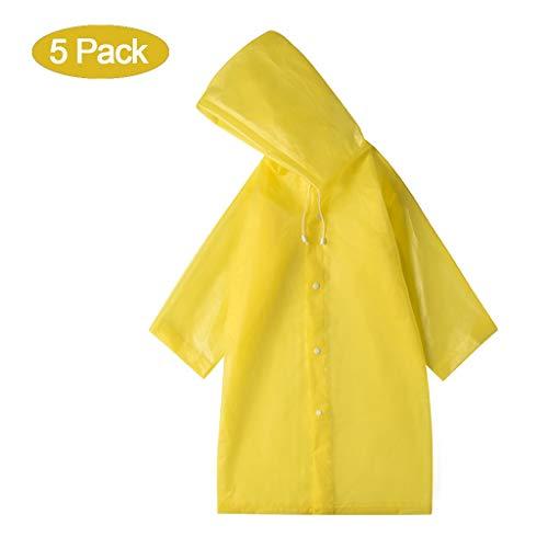 EWQG-Pfanne 5pcs wasserdichte Regenponcho Wiederverwendbare Eva Regenmantel Unisex Regenjacke für Camping, Reisen und Outdoor Aktivitäten -AA Schutz Overall (Farbe : Yellow)