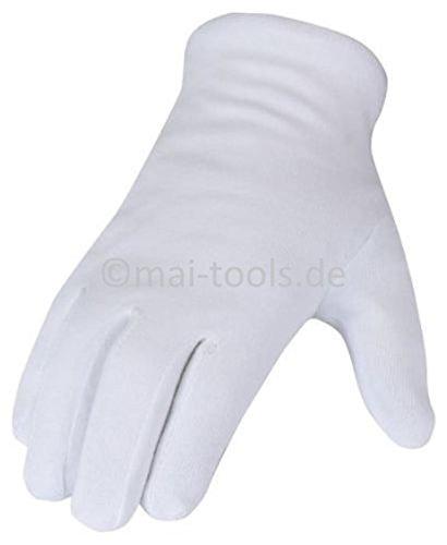 3 Paar Gr. 9/L Baumwollhandschuhe weiß (wählbar Gr. 7 (S), 8 (M), 9 (L), 10 (XL), 11 (XXL), Spar-Pack: 1 Paar bis 300 Paar)