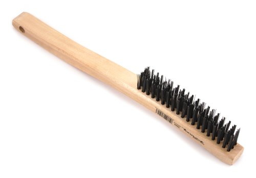 Forney 70504 Wire Scratch Brush, Carbon Steel with Curved Wood Handle, 13-3/4-Inch-by-.014-Inch