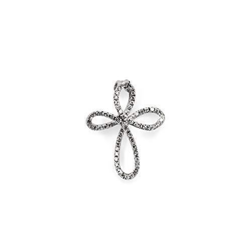 luppino gioielli Ciondolo Croce Donna Oro Bianco 18kt 0,40ct di Diamanti h vs cresima Comunione