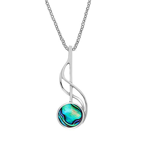 Silverly Women's .925 Sterling Silver Abalone Shell Musical Note Pendant Necklace, 18'