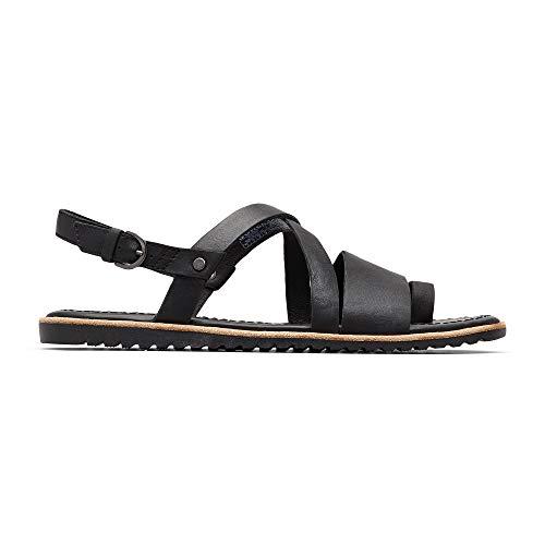 Sorel - Women's Ella Criss Cross, Leather or Suede Sandal with Adjustable Strap, Black, 11 M US
