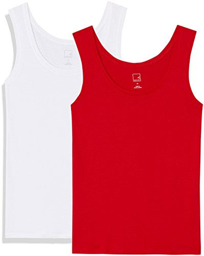 Amazon-Marke: MERAKI Damen Top Ap002, Rot (Racing Red/White), 36, Label: S