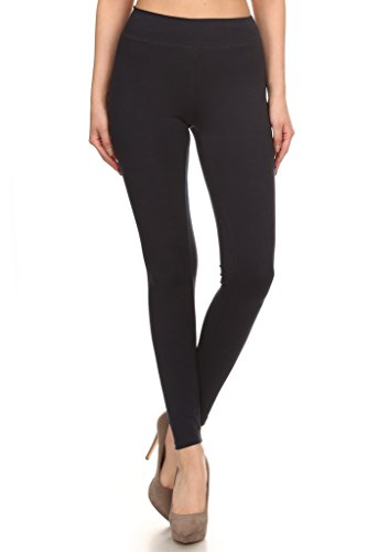 2ND DATE Women's Basic Cotton Stretch Leggings with Comfort Waistband-Black-Large
