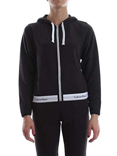 Calvin Klein Lounge Zip Up Hoodie-Modern Cotton Sudadera, Negro (Black 001), XS para Mujer