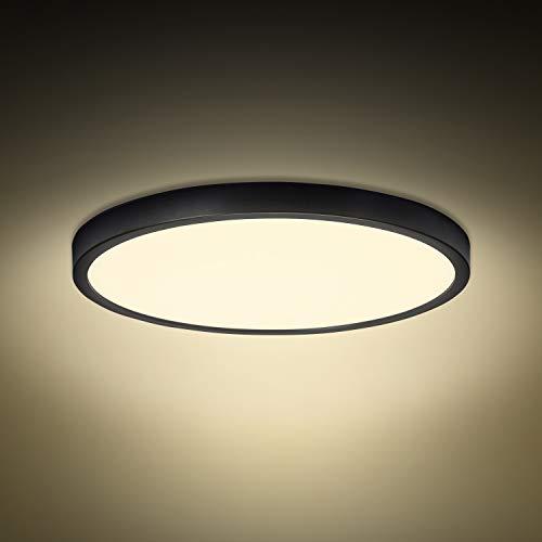 Combuh Plafoniera LED 28W 2520LM Bianco Caldo 3000K Rotondo Nero Sottile Lampada da Soffitto per Bagno Camera da letto Salotti Cucina Ufficio Ø30cm