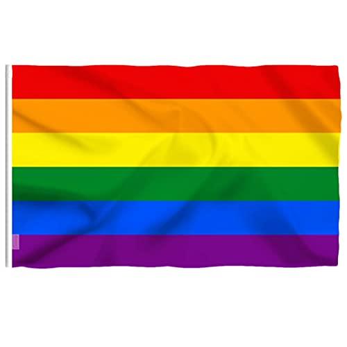 1 banderas LGBT de resistencia a la decoloración UV banderas LGBT de poliéster con doble costura banderas gay LGBT arco iris decorativas ideales para fiestas LGBT desfile orgullo mes decoraciones