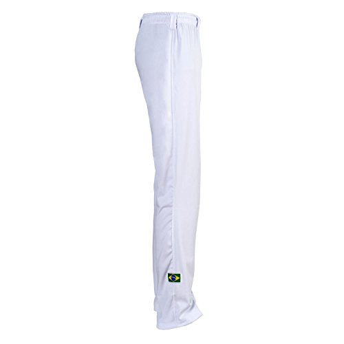 JL Sport Autentico Pantaloni Brasileiana Capoeira Arti Marziali Uomo (Bianco) - XL