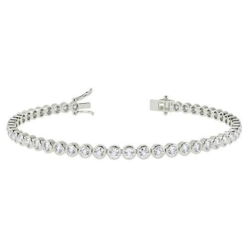 Certified 2.00 Carat Round Diamond Bezel Set Tennis Bracelet for Women's - 9k White Gold