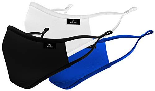 3 Stück Premium Masken Mundschutz in elegantem schwarz, weiß, blau. Diese Stoffmasken passen zu jedem Kleidungsstill. Angenehm und wiederverwendbar.