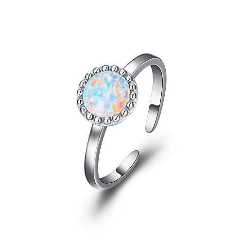 Ever Faith, anello da donna con opale di colore bianco, regolabile, 8 mm, con pietra di opale rotonda
