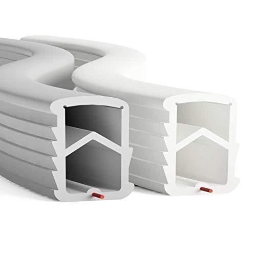 DIWARO® Stahlzargen-Dichtung SZ001 | weiß oder grau | 5 lfm für Haus- und Innentüren. Zum Schallschutz und abdichten der Tür. Bestehend aus TPE (Thermoplastischen Elastomer) (weiß)