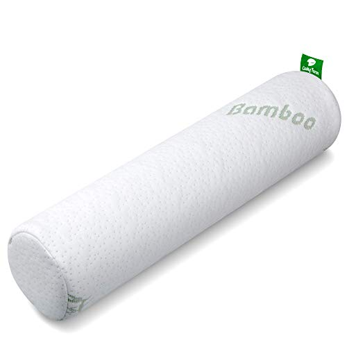 Thera Health Neck Roll Pillow for Sleeping - Memory Foam Cylinder Pillows for Spine Discomfort w/ Washable Bamboo Tube Pillow Case