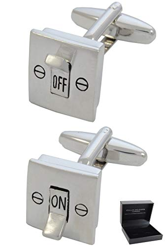 COLLAR AND CUFFS LONDON - Boutons de Manchette avec Boite-Cadeau - Grand Qualité - Interrupteur Électrique - on and Off - Laiton - Couleur Argent - Br