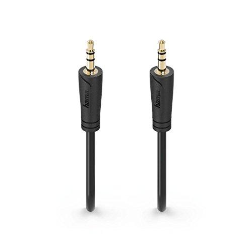 Hama Audio-Klinkenkabel, 1,5m (3,5mm Klinken-Stecker auf 3,5mm Klinken-Stecker, extra kleine Stecker, Stereo, vergoldet) Audio Kabel, Verbindungskabel schwarz