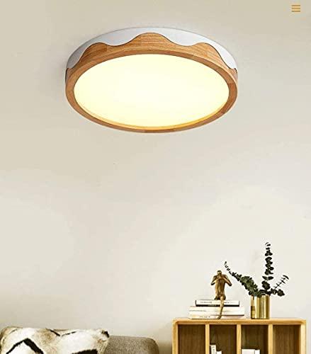 Lámpara de araña decorativa Chanety, lámpara de techo, luz de techo redonda de madera maciza de 50 cm, Luz de estudio de troncos nórdicos Restaurante Luz de techo regulable Luz cálida, atenuación cont