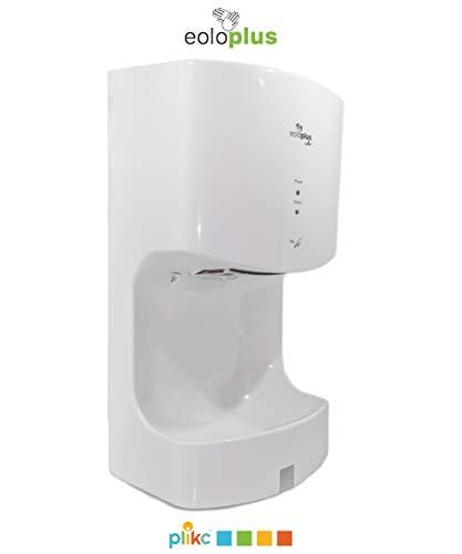 plikc - Toallas eléctricas de Hoja de Aire con fotocélula y Bandeja antigoteo, ABS, Color Blanco, eoloPlus