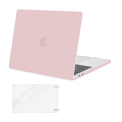 MOSISO MacBook Pro 13 inch Case 2020 2019 2018 2017 2016 Release A2338 M1 A2289 A2251 A2159 A1989 A1706 A1708, Plastic Hard Shell&Screen Protector Compatible with MacBook Pro 13 inch, Rose Quartz