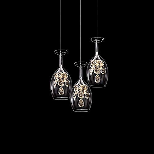 Exquisita Personalidad de cabeza Tres lámpara colgante es simple y moderna del techo colgante de la luz creativa de cristal copas de vino LED Lámparas Habitación Sala Bar mesa de comedor de mesa Lámpa