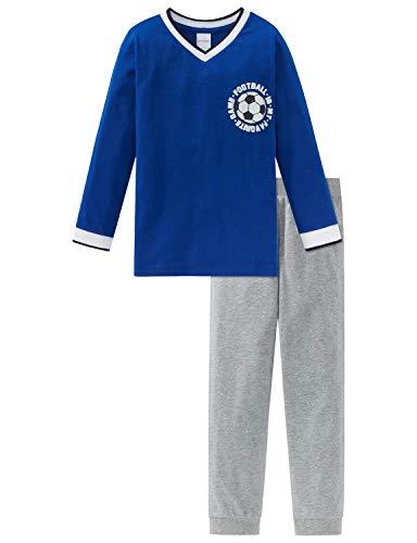 Schiesser Jungen Fußball Kn Anzug lang Zweiteiliger Schlafanzug, Blau (Blau 800), 98 (Herstellergröße: 098)